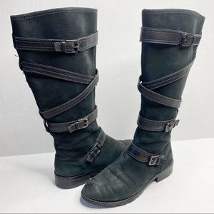 Sofft black leather strappy tall boots 7.5